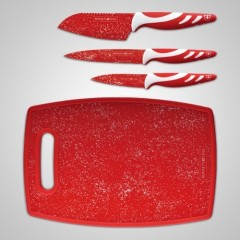 Royaltyline 3 Pcs Marble Coating Knife Set with Cutting Board: RL-3MR