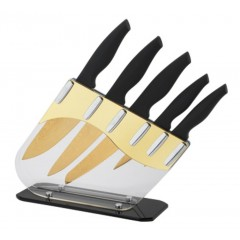 Royaltyline 5 Pcs Damascus Coating Knife Set With Stand Gold: RL-DM6GST