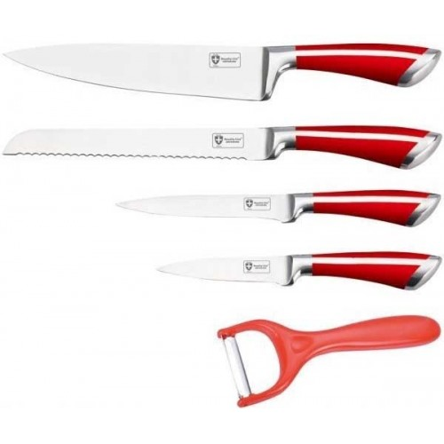 Royaltyline 5 Pcs Stainless Steel Knife Set Red: RL-SS502