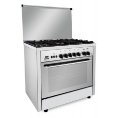Fresh Gas Cooker 5 Burners 90x60 cm Timer for Gas Stopping With Fan Digital Stainless: PROFESSIONAL Control 90*60
