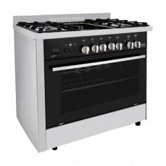 Fresh Gas Cooker Semi-BuiltIn 5 Burners 90x60 cm Timer for Gas Stopping With Fan Digital Stainless: PROFESSIONAL Grillo