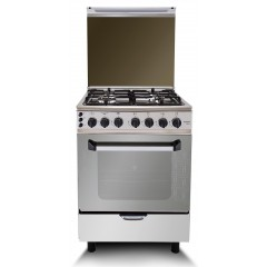 Fresh Gas Cooker 4 Burners 60x60 cm With Fan Enamel Stainless: Plaza ST 60*60