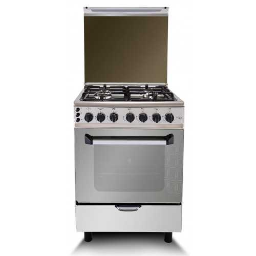 Fresh Gas Cooker 4 Burners 60x60 cm With Fan Cast Iron Stainless: Plaza Cast 60*60