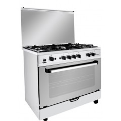 Fresh Gas Cooker 5 Burners 90x60 cm Safety Cast Iron With Fan Stainless: Plaza 90*60