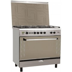 Fresh Gas Cooker 5 Burners 90x60 cm Safety With Fan and Timer Stainless Digital: Plaza 90 Digital