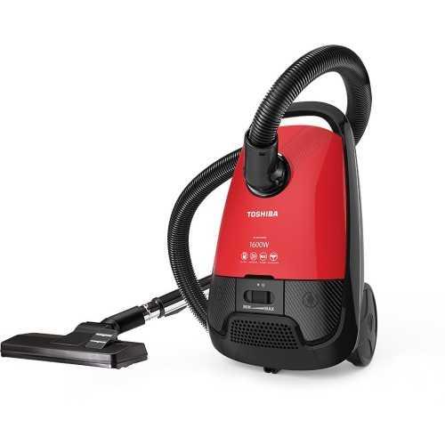 مكنسة توشيبا 1600 وات لون أحمر × أسود مزودة بفلتر هيبا و فرشاة للأتربة VC-EA1600SE