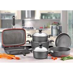 VERDA AVSER Kitchen Pot Set 9 Pieces Granite Gray Color: AV3804