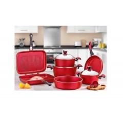VERDA AVSER Kitchen Pot Set 9 Pieces Granite Red Color: AV3798