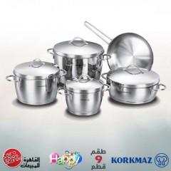 KORKMAZ LUNA Kitchen Pot 9 Pieces Stainless Steel: A1059