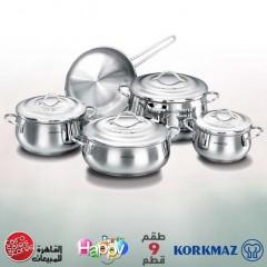 KORKMAZ GALA Kitchen Pot 9 Pieces Stainless Steel: A1058