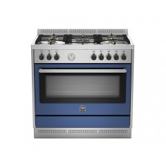 LA GERMANIA Freestanding Cooker 90 x 60 cm 5 Gas Burners in Stainless and Blue Color RIS95C81AXB