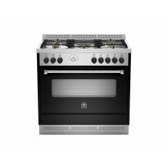 LA GERMANIA Freestanding Cooker 90 x 60 cm 5 Gas Burners in Stainless x Black AMS95C81ANE