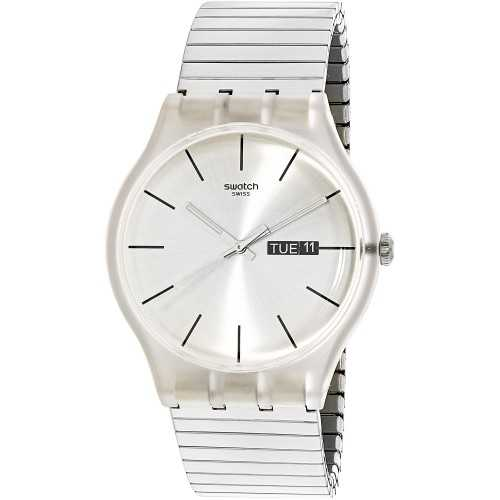 SWATCH Originals Resolution Silver Dial Stainless Steel Unisex Watch SUOK700A