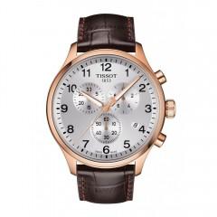 تيسوت ساعة رجالي كرونوجراف جلد بني مينا سيلفر T116.617.36.037