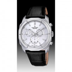 Candino Mens Chronograph Quartz Watch Leather Black Band Silver Dial C4582/1