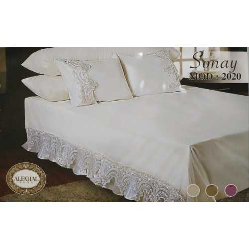 AL-FATTAL SONAY Bed sheet Size 240cm*250 cm Embroidered from Organza Set 5 Pieces B-2020