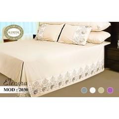 ELENORA Bed sheet Size 240cm*250 cm Embroidered Set 5 Pieces B-2030