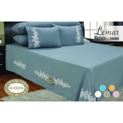 AL-FATTAL LEMAR Bed sheet Size 240cm*250 cm Embroidered Decorated with Artificial Organza flowers Set 5 Pieces B-2080