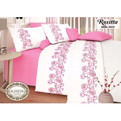 AL-FATTAL ROSITTA Bed sheet Size 240cm*250 cm Embroidered Set 5 Pieces B-3015