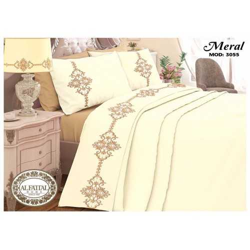 AL-FATTAL MERAL Bed sheet Size 240cm*250 cm Embroidered Set 5 Pieces B-3055