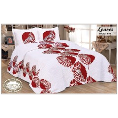 AL-FATTAL LEAVES Bedspread jacquard Size 240cm*250 cm Set 3 Pieces B-175