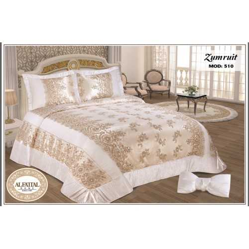 Al-Fattal Embroidered Bedcover Set 4 Pieces Satin ZUMRUIT