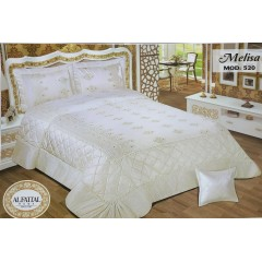 Embroidered MAKARNA THREAD Bedcover Satin Set 4 Pieces MELISA