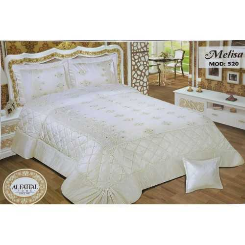 Al-Fattal Embroidered MAKARNA THREAD Bedcover Satin Set 4 Pieces MELISA