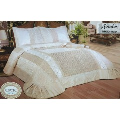 Multi Processed Embroidered Bedcover Satin Set 4 Pieces SONDOS