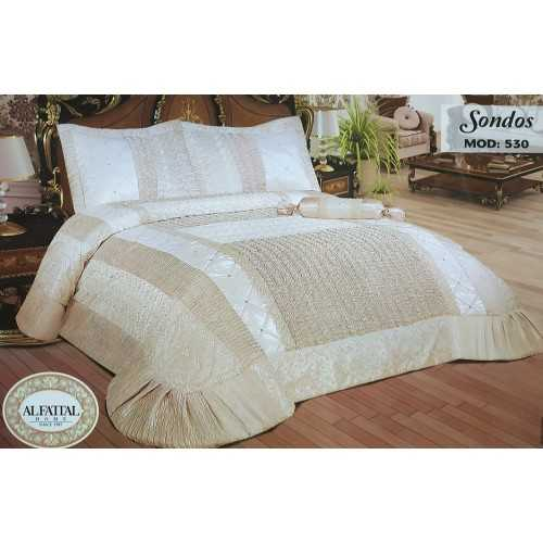 Al-Fattal Multi Processed Embroidered Bedcover Satin Set 4 Pieces SONDOS