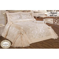 Embroidered MAKARNA THREAD Bedcover Set Jacquard Satin With Furring Edges 4 Pieces NAZLI