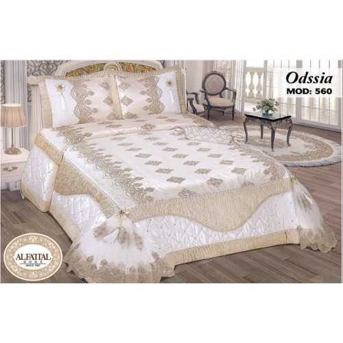 Al-Fattal Embroidered MAKARNA THREAD Bedcover Set Satin 4 Pieces ODSSIA