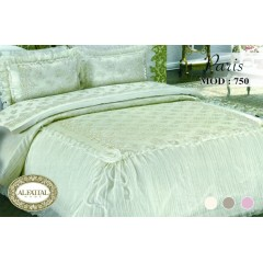 Embroidered Bedcover Set Satin With Organza Edges 4 Pieces PARIS