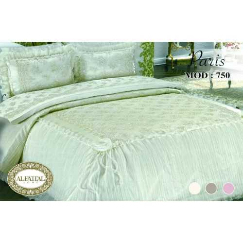 Al-Fattal Embroidered Bedcover Set Satin With Organza Edges 4 Pieces PARIS