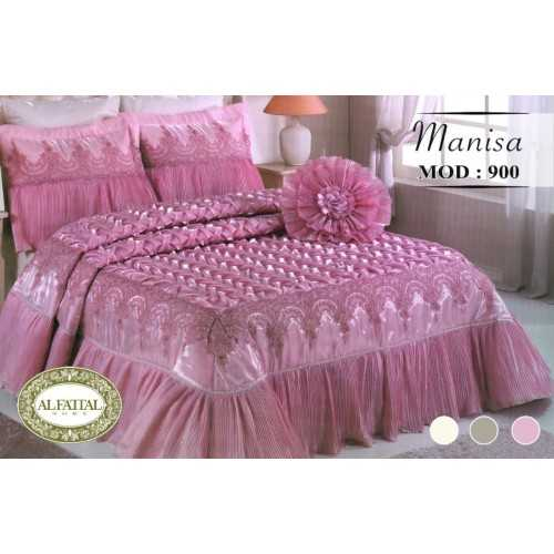 Al-Fattal Embroidered Bedcover Set Satin With Organza Edges 4 Pieces MANISA