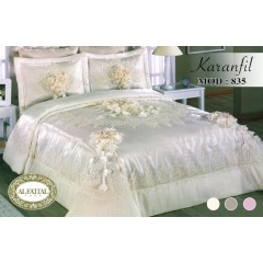 Embroidered Bedcover Set Satin 4 Pieces KARANFIL