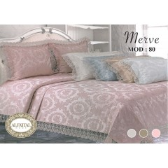 AL-FATTAL MERVE Bedspread Jacquard with Embroidered Gupir Edges Size 240cm*250 Set 3 Pieces B-80