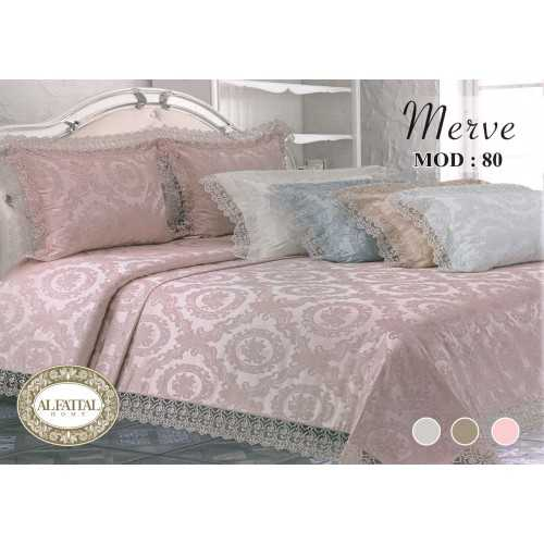 AL-FATTAL MERVE Bedspread Jacquard with Embroidered Gupir Edges Size 240cm*250 Set 3 Pieces B-80