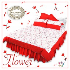 FLOWER Quilt Stiches Embroidered Filled of Fiber Size 240 cm*250 Set 3 Pieces Q1005
