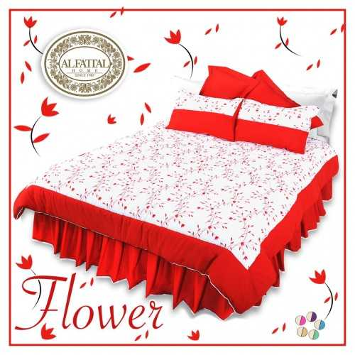 AL-FATTAL FLOWER Quilt Stiches Embroidered Filled of Fiber Size 240 cm*250 Set 3 Pieces Q1005