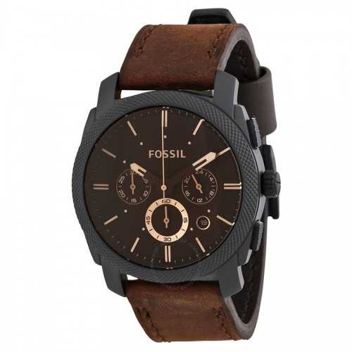 FOSSIL Men's Watch Chronograph Brown Band Leather FS4656