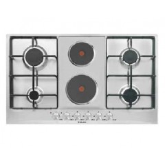 Glem Gas Hob 6 burner 4 gas burners + 2 hot plates 90 cm: GT968NGIX