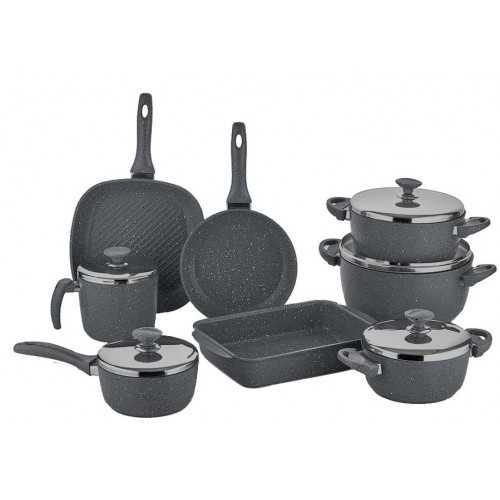 SAFLON Kitchen Pot Set 13 Pieces Granite Gray S-1378