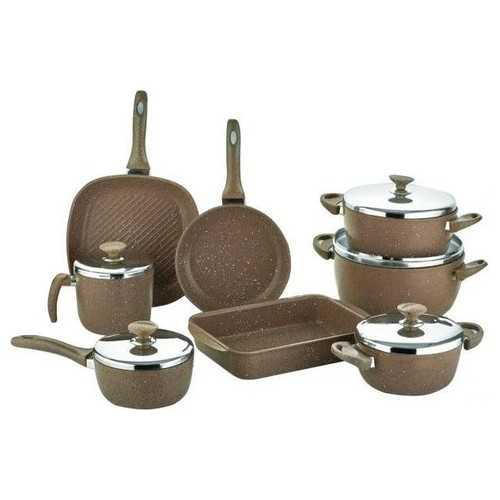 SAFLON Kitchen Pot Set 13 Pieces Granite Shoclet S-8742