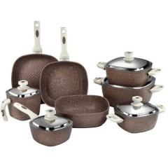 SAFLON Kitchen Pot Set 13 Pieces Granite Brown S-2726
