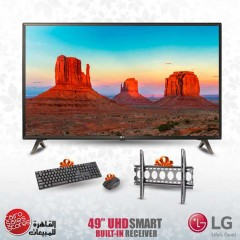 """LG 49"""" LED TV Ultra HD 4K Smart With Built-In 4K Receiver and Gifts 49UK6300PVC"""