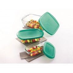 PYREX Set 3 Pieces Glass can used in Oven Green PG-510456