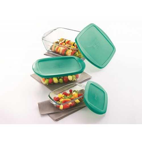 PYREX Refrigerator Set 3 pieces Glass Green P-G510456