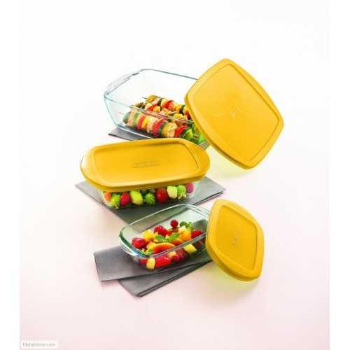 PYREX Refrigerator Set 3 pieces Glass Yellow PY-510456