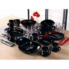 Luminarc Sequins Kyoko Black Arcopal Dinner Set 50 Pieces P1717